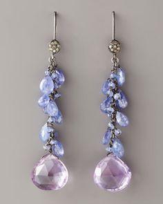 Wendy Brigode Amethyst & Diamond Drop Earrings