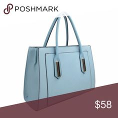 "Front Pocket Satchel Handbag (Blue) » Crossgrain Texture » 13.5"" (W) x 10"" (H) x 5"" (D) » 6.5'' Handle Drop » Maximum Shoulder Strap Length: 24'' » Zip Closure » Interior Pockets: 2 x Zip + 2 x Slip with Center Divider » Material: Vegan Leather » Studs on Bottom Bags Satchels"