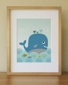 Whale  Baby Nursery Wall Art  Children Wall Art by Lulliloola, $20.00