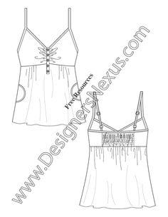 V74 V-Neck Henley Baby Doll Tank Top Flat Fashion Sketch