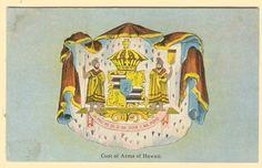 """Coat of Arms of Hawaii. State motto: """"UA Mau Ke Ea O Ka Aina I Ka Pono"""" Aloha Hawaii, Hawaii Life, Hawaii Travel, State Mottos, Hula Dancers, Vintage Hawaii, My Ancestors, Local Girls, My Heritage"""