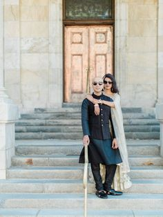 A chic indian couple posing naturally on the court house steps for their engagement photographs Anniversary Photography, Engagement Photography, Wedding Photography, One Year Anniversary, Dressed To The Nines, Real Couples, Wedding Weekend, Couple Posing, European Fashion