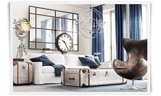 Love the coffee table and the chandelier - dare to dream!   Restoration Hardware