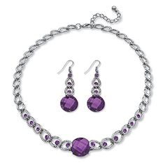 "Simulated Birthstone Silvertone Necklace and Earrings Set 17"" - February - Simulated Amethyst *** Learn more by visiting the image link. We are a participant in the Amazon Services LLC Associates Program, an affiliate advertising program designed to provide a means for us to earn fees by linking to Amazon.com and affiliated sites."