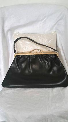 vintage black bag, large black bag, 50s black bag, 50s vintage bag, big black purse, black plastic bag, 50s costume,  TLC