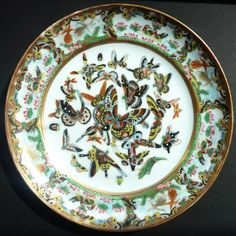 Superb Chinese Qing Guangxu hundred butterflies Plate