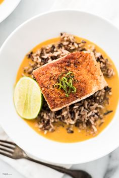 Pan seared salmon on a bed of wild rice in a rich and creamy ginger and coconut curry broth. Sounds elegant, butI made a videoso you can see just how easy it really is! Salmon is such a wonderfully versitledish – it makes a great weeknight meal due to it's quick and easy prep yet...Read More »