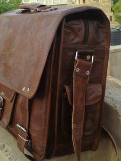 Large Men Leather Briefcase Men Leather Messenger Bag - 16 inches Pure Leather Macbook/Laptop bags shoulder handbags brown leather satchel. $115.00, via Etsy.