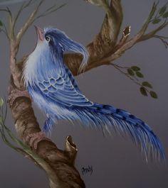 Pássaro azul - acrílica sobre madeira - pintura de Mary Paiva (Andy). Imagem de internet.