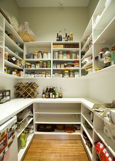 would keep my blender, toaster, George Foreman grill, coffee maker, etc all in here too. Pantry Laundry Room, Walk In Pantry, Kitchen Pantry Design, New Kitchen, Kitchen Layout, Pantry Storage, Kitchen Storage, Pantry Organization, Pantry Interior