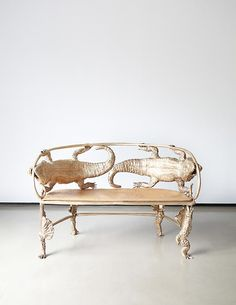 How magnificent is this crocodile bench by French artists Claude and Francois-Xavier Lalanne? I am just in love with the humor, whimsy and clever detail (the feet!) that went into creating this brass bench.