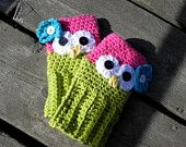 Crochet 100% Cotton Fingerless Owl Gloves (Available In Two Sizes 12Mos-4T). $20.00, via Etsy.