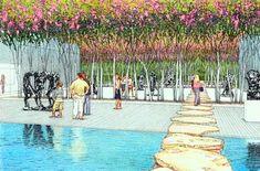 Conceptual Architecture, Landscape Architecture, Landscape Design, Landscaping Tips, Garden Landscaping, Elevation Drawing, Japan Landscape, Urban Sketchers, Big Tree