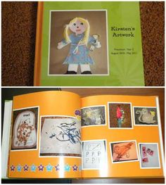 Make a book each year of your child's art and craft projects.  Keep the memories without all the papers.