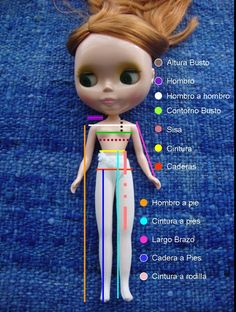 P or petición de una colega tejedora y creadora de ropa, muñecos y artesanías, me dediqué a medir de pies a cabeza a mi Blythe . Muchas ...