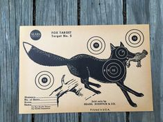 Fox Shooting Target. Paper J C Higgins Target.  This vintage animal target paper makes a great gift for hunters.  Or if you need to decorate a man cave!  #fox #hunting #gift #hunter #target #shooting