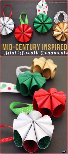 DIY Mini Wreath Christmas Ornament Tutorial and Instructions. Article from : http://www.diyhowto.org