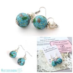 Preparing these beautiful Turquoise Millefiori Earrings today ready for dispatching to there new home @lottieoflondon