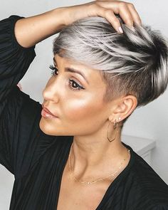 Today we have the most stylish 86 Cute Short Pixie Haircuts. We claim that you have never seen such elegant and eye-catching short hairstyles before. Pixie haircut, of course, offers a lot of options for the hair of the ladies'… Continue Reading → Short Grey Hair, Short Hair Cuts For Women, Short Hairstyles For Women, Cool Hairstyles, Short Undercut Hairstyles, Grey Short Hair Styles, Pixie Cut With Undercut, Undercut Pixie Haircut, Short Silver Hair