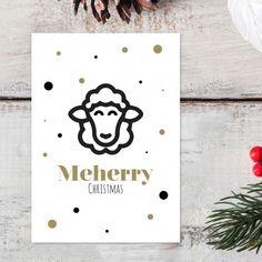 "Kerstkaart ""Meherry Christmas"" | Schaap | Woordgrap | Wenskaart | Originele kerstkaarten | Postkaart Diy Christmas Cards, Christmas Quotes, Christmas Crafts, Xmas, Christmas Ideas, Jingle Bells, Holidays And Events, Diy Cards, Doodle Art"