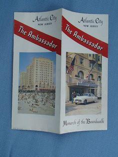 1950s THE AMBASSADOR Hotel Brochure Atlantic City, NJ