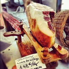 Jambon, aged 3 years, in Les Halles of St Jean de Luz, France. Love the wooden jamonero.