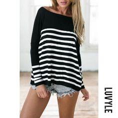 #Luvyle - #Luvyle Scoop Neck Color Block Striped T-Shirts - AdoreWe.com