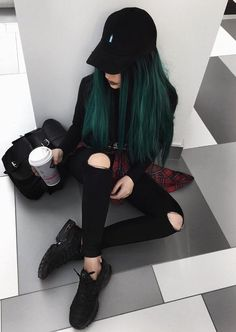 Black cap with sweatshirt, skirt, ripped pants & black sneakers by evalevinskaya - blacky hair styles 36 Black Outfits Ideas Worth Checking Out Edgy Outfits, Mode Outfits, Black Outfits, Black Cap Outfit, Grunge Outfits, Alternative Outfits, Alternative Fashion, Hair Dye Colors, Hair Color