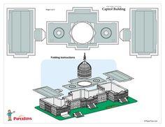 US Capitol Building Model Cut Out - Free Printable Paper Template 3d Paper, Paper Toys, 3d Templates, Free Paper Models, Us Capitol, Putz Houses, Printable Paper, Free Printable, Thinking Day