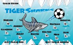 Sharks-Tiger-40681 digitally printed vinyl soccer sports team banner. Made in the USA and shipped fast by BannersUSA. www.bannersusa.com
