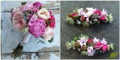Ramo de novia romántico con peonias. rosas David Austin y hortensias con un detalle de fantasía en forma de mariposa. Mayula Flores