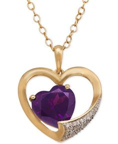 Amethyst (3 ct. t.w.) Heart and Diamond Accent Pendant Necklace in 14k Gold