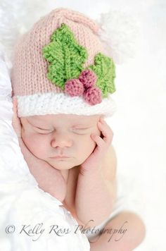 Pink Santa Hat With Holly and Berries  Baby  Toddler by needleNme, $15.00