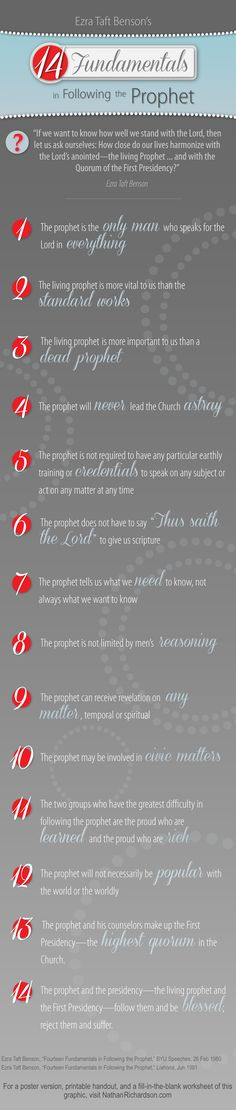 "Free printable poster, handout, matching worksheet, memory game, and more of Ezra Taft Benson's ""14 Fundamentals in Following the Prophet."" Great for Family Home Evening or a Church Lesson!"