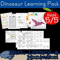 Dinosaurs!! | Math, Literacy, Montessori, Educational Therapy ... WOW! from Selma Dawani on TeachersNotebook.com (53 pages)  - I don't know what pack can be better for those kids that LOVE dinosaurs!   Work on skills needed for preschool and kindergarten. This pack is differentiated and all kids from the ages of 3 to 7 will enjoy what it has to offer. WOW, WOW, WOW!   THE BE