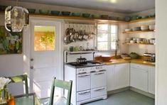 vintage stove, touch of green