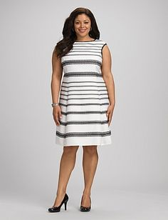 Plus Size Textured Striped Fit-and-Flare Dress | Dressbarn
