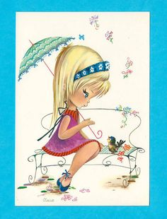 Postcard doll vintage 70s. By Nuco. Big eyed door bluumievintage, $4.75