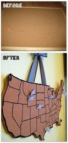 I call this the interactive, travel, pin up map! This map creates a fun, cute way to track your travels across the wonderful USA! All you need is a cork board f