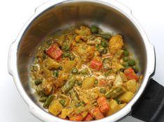 Vegetable Biryani Recipe - Hyderabadi Veg Dum Biryani - Step by Step Photos Vegetable Biryani Recipe, Rice And Gravy, Cooking Basmati Rice, Dum Biryani, Fried Onions, Garam Masala, Serving Plates, Pressure Cooking