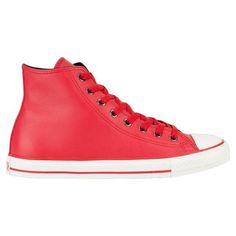 Converse Chuck Taylor All Star Hi shoes. Leather upper with leather Converse All Star patch on side. Imported. Padded insole. Rubber toe cap. Vulcanized rubber outsole. Converse All Star heel badge. Imported.'