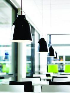 Caravaggio lighting pendants designed by Cecilie Manz. Black/black drawn aluminium.