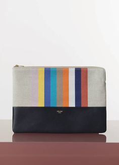 98a41864a031 CELINE Solo clutch pouch in multicolour stripped cotton canvas and lambskin