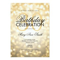 Elegant 30th Birthday Party Gold Glitter Lights 5x7 Paper Invitation Card 60th Invitations