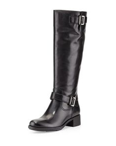 Leather Moto Knee Boot by Prada Linea Rossa at Neiman Marcus.