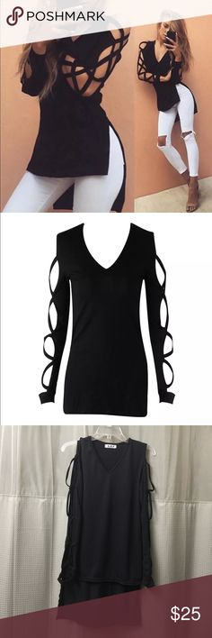 Sexy top New . Fashion sexy long sleeve casual blouse 80% cotton in front length 63 cm back length 80 cm I order XL Asian but this s/m USA Tops Tees - Long Sleeve