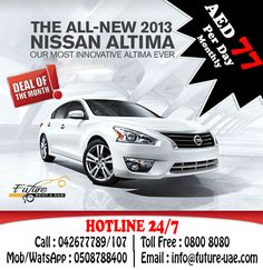 Book with Future Car Rentals on this month and travel like in your own car.  Nissan Altima 2.5L, Automatic for just AED 77 per day for   For More Details and Booking Call : 042677789/107 Mob/WatsApp : 0508788400 Toll Free : 800 8080 Email : info@future-uae.com  #dubai #Mydubai #rentacar #carrentaldubai #dubaicarrent #uaecarrental #mycity #uae #abudhabi #abudhabicarrent #rentacarabudhabi #like4like #follow4follow #car4rent