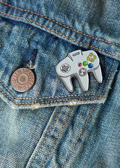 N64 Controller Soft Enamel Pin - Classic Retro Gaming - Limited Edition Of 100 - 1.25 Inch Lapel Pin - Black Nickel