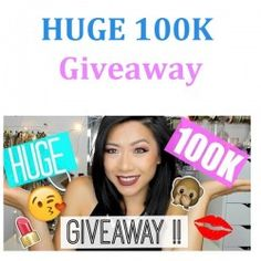 HUGE 100K Giveaway ^_^ http://www.pintalabios.info/en/youtube-giveaways/view/en/235 #International #MakeUp #bbloggers #Giweaway