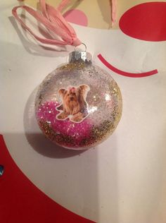 Yorkie Yorkshire Terrier Dog Cute Christmas Glitter Ornament Great Gift by HopesSassyGlass on Etsy